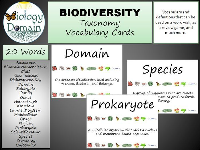 Taxonomy Word Wall Vocabulary Cards Part 1