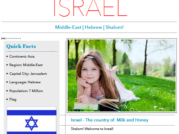 Discover Israel - Printable Worksheet