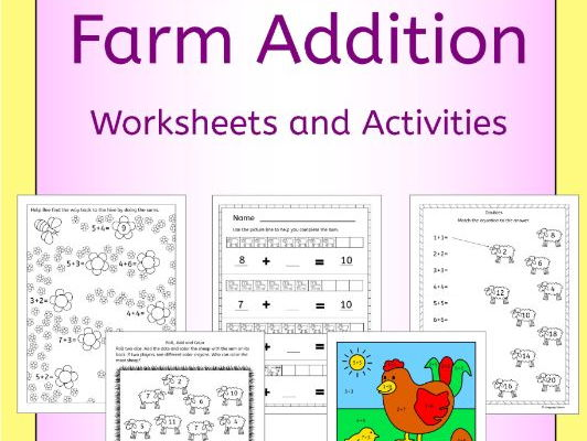 Farm addition - worksheets, booklet and activities