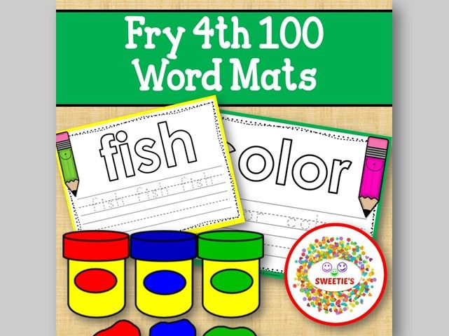 Sight Word Mats:  Fry 4th 100 Word Mats – Color