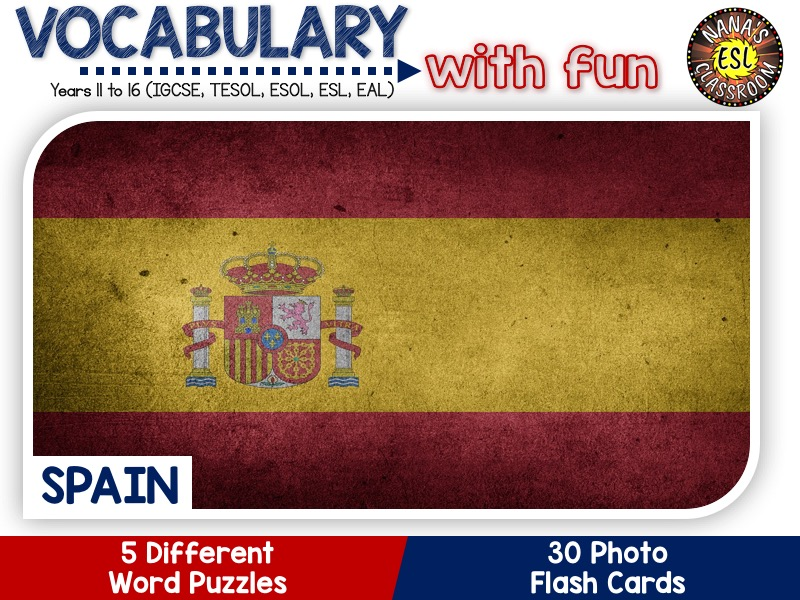 Spain - Country Symbols: 5 Different Word Puzzles and 30 Photo Flash Cards (IGCSE ESL, TESOL, ESOL)