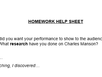 Drama written homework help sheet