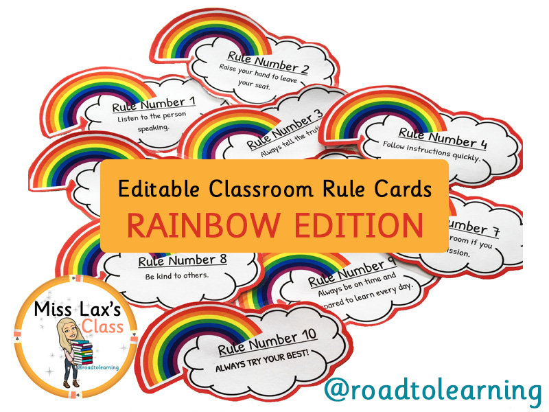 EDITABLE Rainbow Classroom Rule Cards for Display