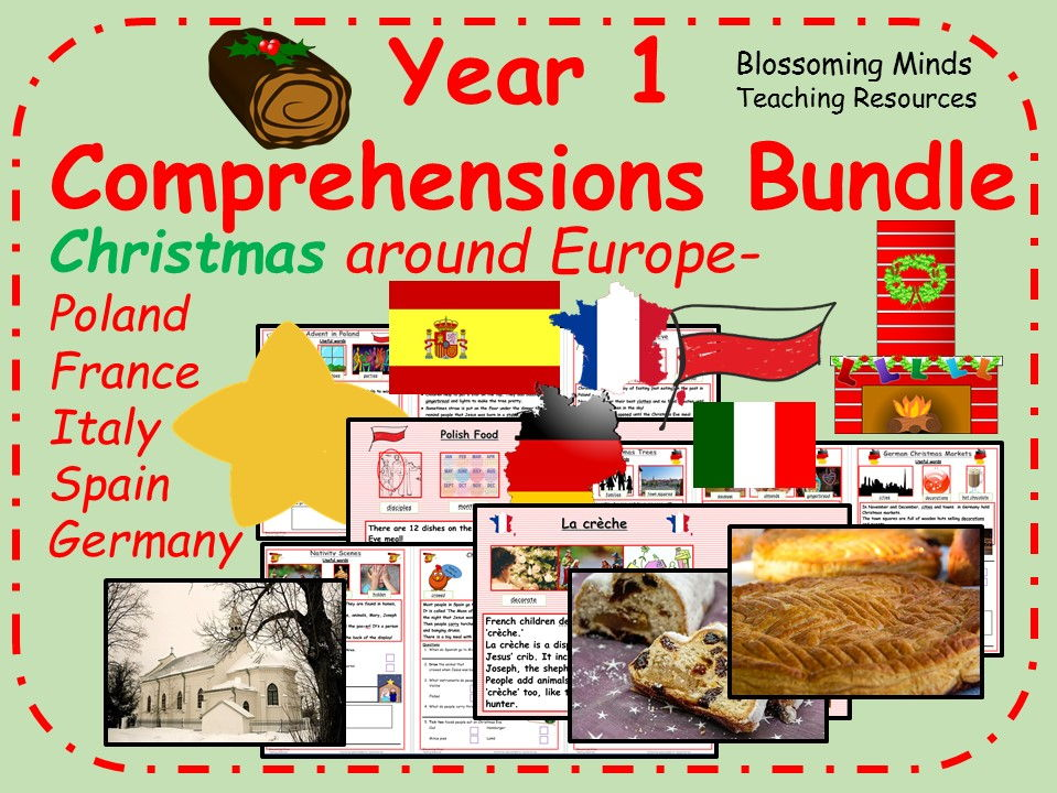 Year 1 comprehension bundle - Christmas around Europe
