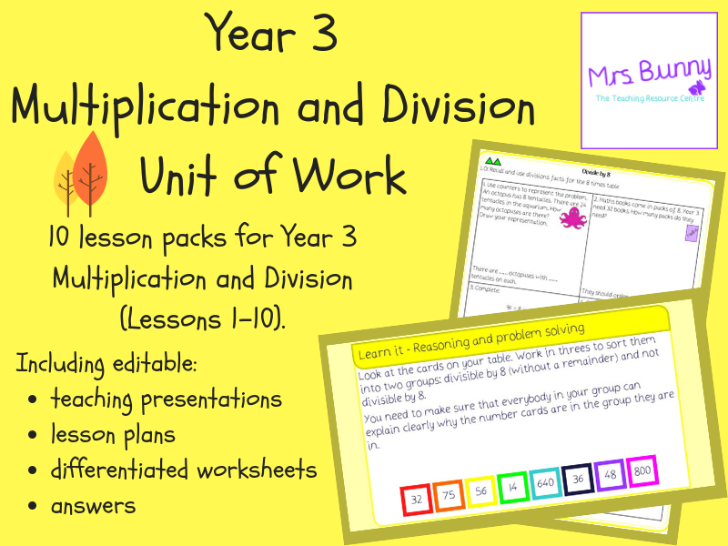 Year 3 Multiplication and Division Unit Pack