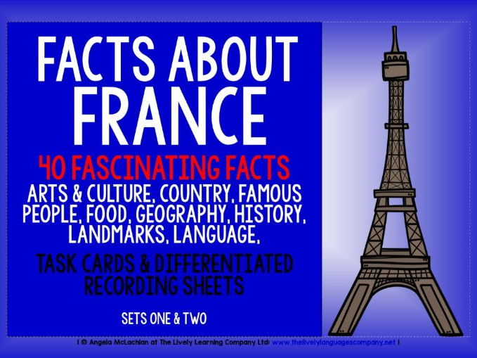 FRENCH FOR CHILDREN - 40 FACTS TASK CARDS, RECORDING SHEETS, DISCUSSION ACTIVITY