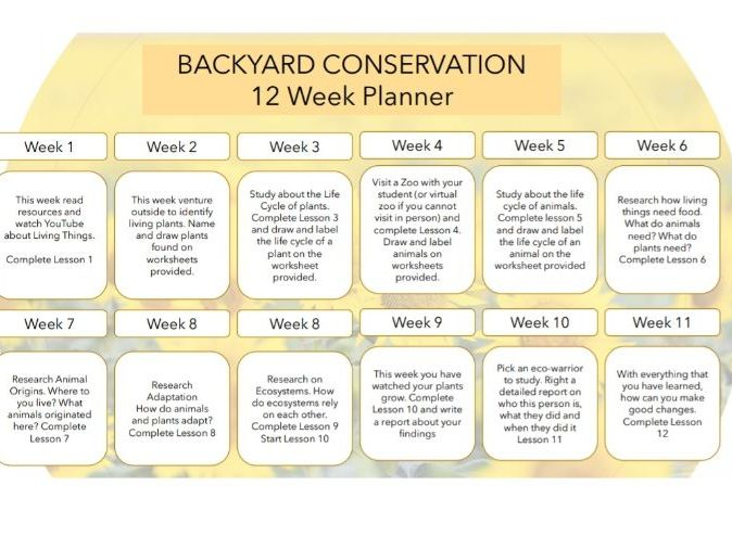 12 Week Conservation  Lesson Plan