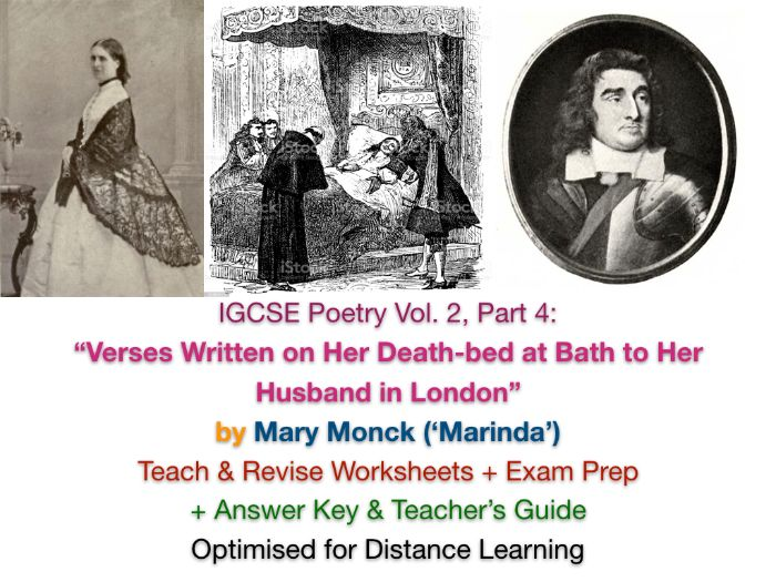 """IGCSE Poetry: """"Verses Written on Her Death Bed"""" (Mary Monck, 'Marinda') ACTIVITIES + ANSWERS"""
