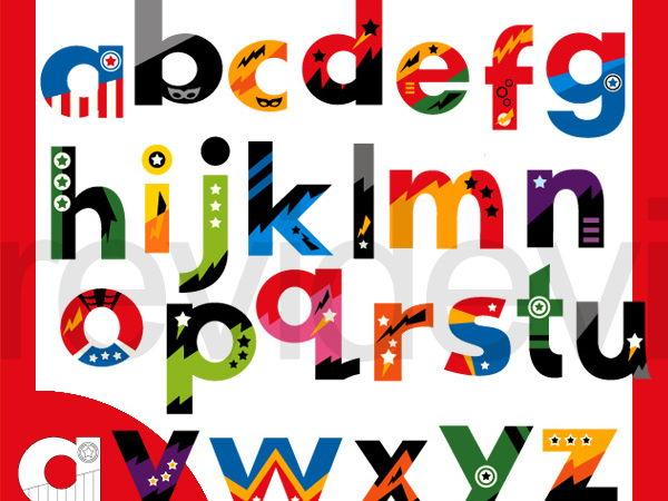 Lowercase Alphabet Superhero Clipart - smallcap letters clip art - commercial use