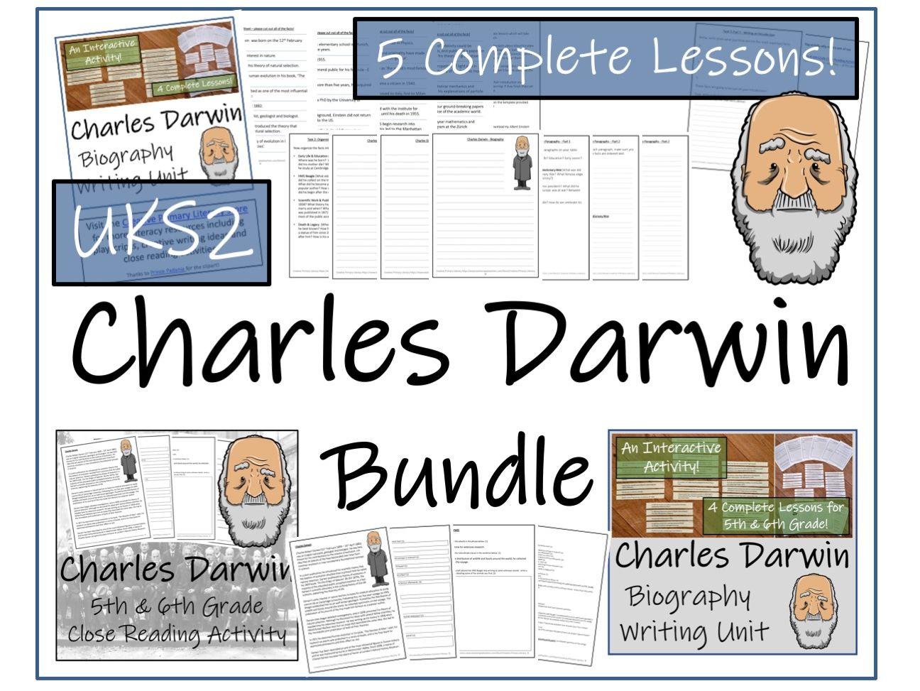 UKS2 Science - Charles Darwin Reading Comprehension & Biography Writing Bundle