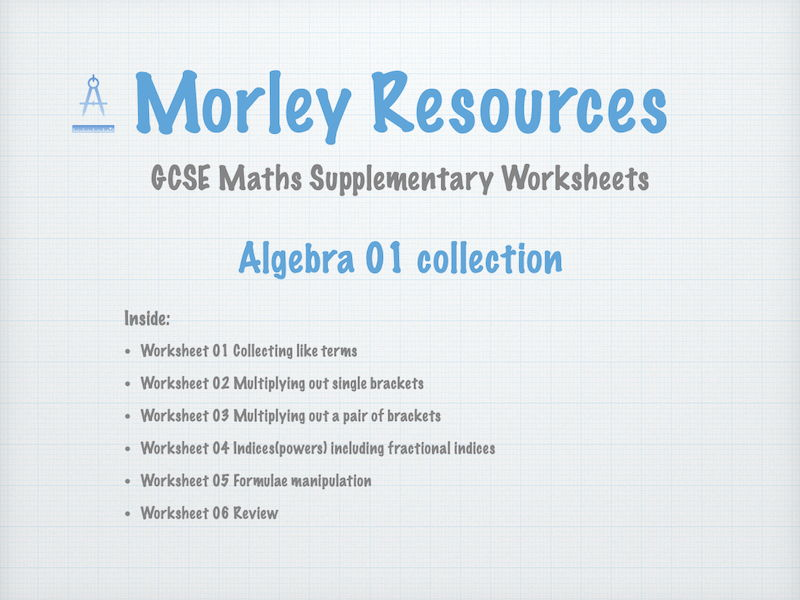 Algebra 01 GCSE Maths Collection