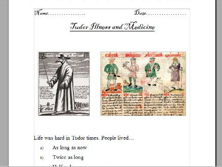 Tudor illnesses and medicine (powerpoints, worksheets and interactivity)