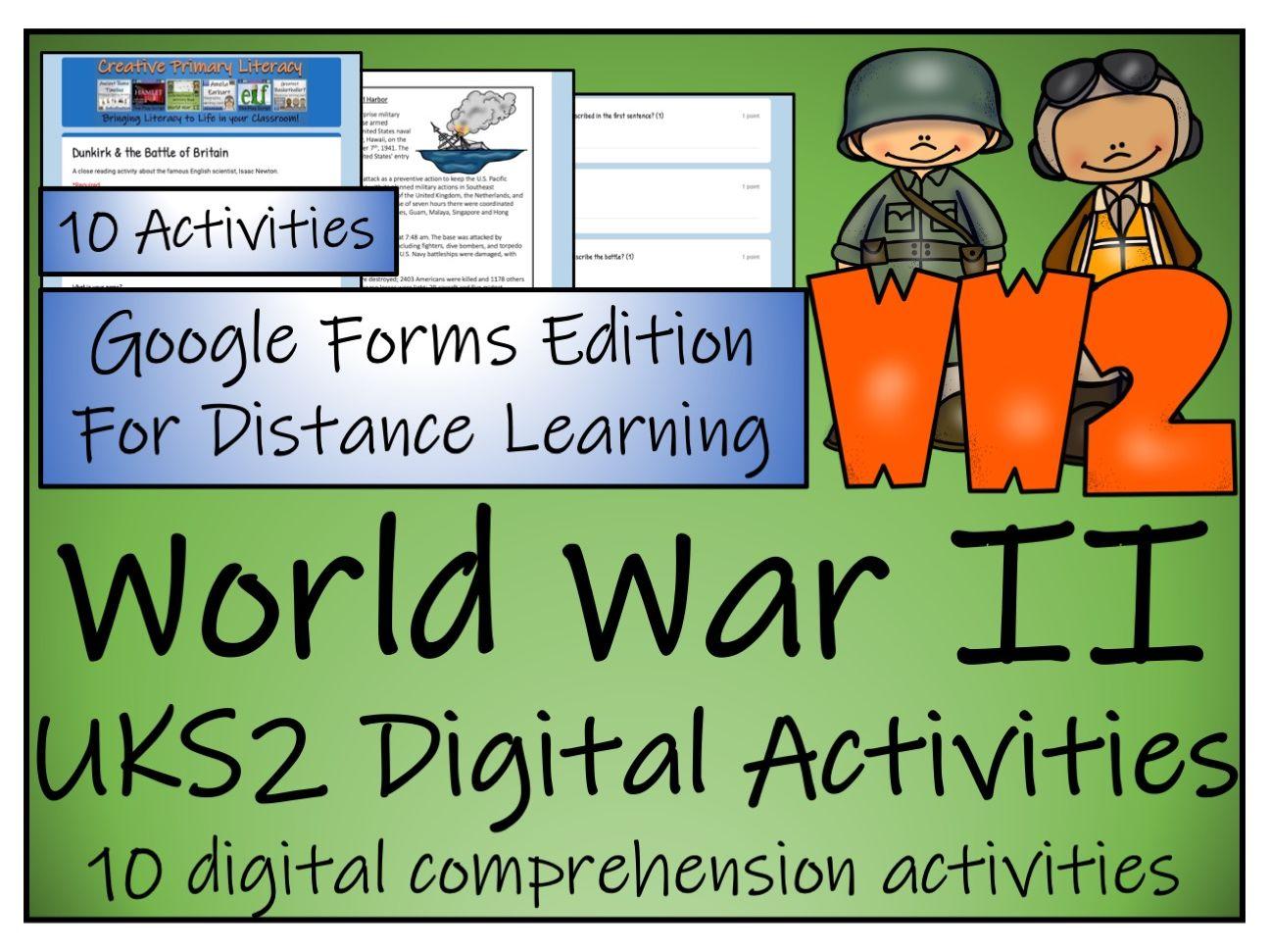 UKS2 World War 2 Reading Comprehension & Distance Learning Bundle