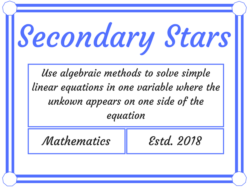 Use algebraic methods to solve simple linear equations