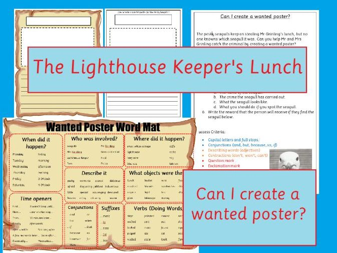 The Lighthouse Keeper's Lunch Wanted Poster