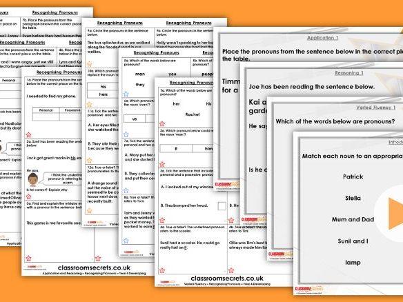 Grammar Year 4 Recognising Pronouns Autumn Block 2 Step 2 Lesson Pack