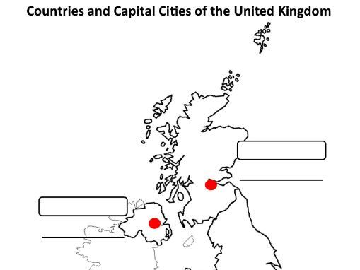 Map Of Uk Template.Uk Countries And Capital Cities Map Template By Mandjmorris
