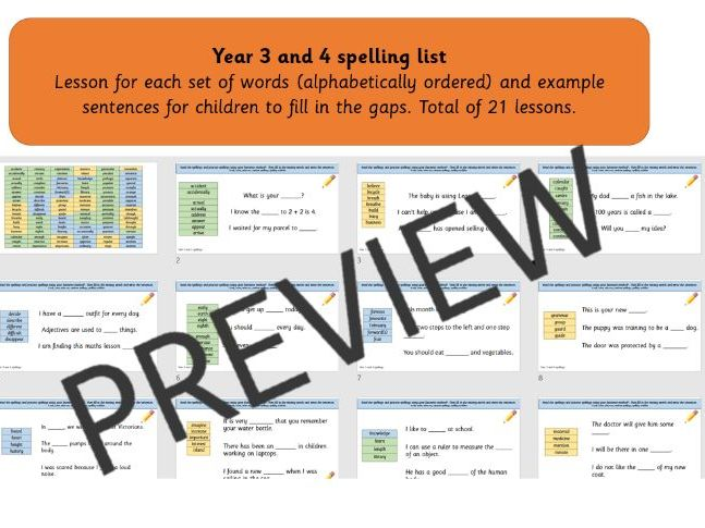 Year 3 and 4 Spelling List lessons PPT
