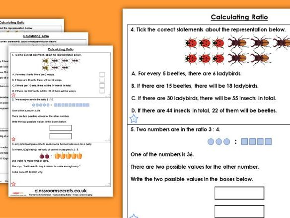 Year 6 Calculating Ratio Spring Block 6 Maths Homework Extension