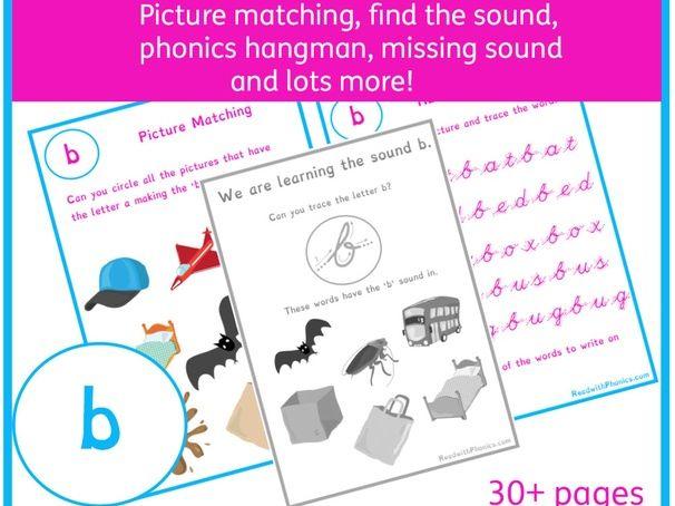 'b' Sound Phonics Bundle | Phonics Resources | Phonics Worksheets | CVC Words
