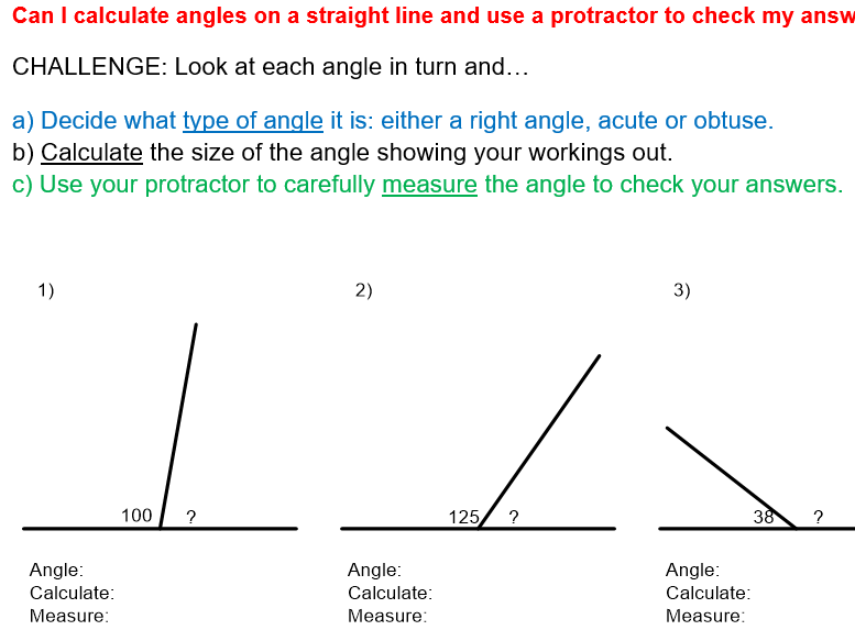 Name, calculate and measure angles on a straight line ...