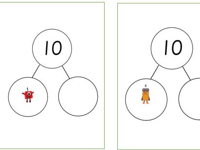Numberblocks part part whole model making 10