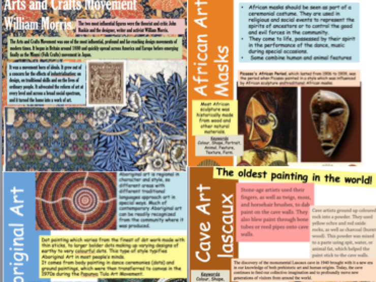 World art / Culture resources sheets (double sided) GCSE