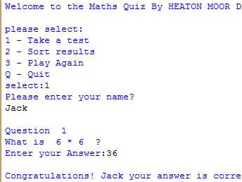 "GCSE Computing Python Project - ""Maths Quiz"""