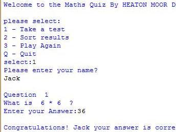 "GCSE Computing Python Project - ""Maths Test"""