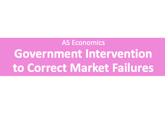 A Level Economics Government Intervention to correct Market Failure