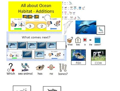 All about Ocean Habitat - 3 Stories in widgit+ Comprehension and Maths Activities for SLD and MLD le