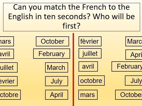 French lesson months of the year