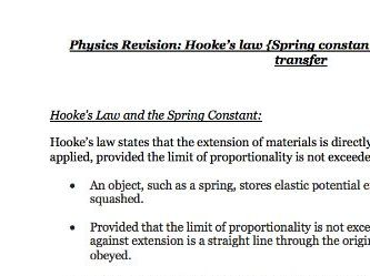 Hooke's Law, Spring Constant+Elasticity - Notes Physics AQA Combined Science GCSE