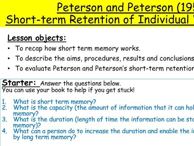 GCSE Edexcel Psychology (9-1): Topic 2: Memory, Lesson 7: Peterson & Peterson,Short-term Retention