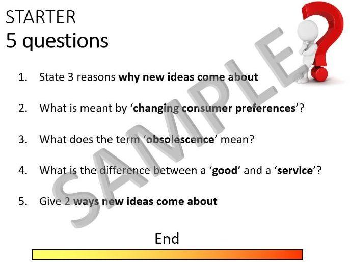 9-1 GCSE Business Theme 1.1 starter questions - short answer, knowledge, quiz