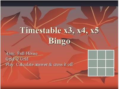 Maths Bingo - Timestables (2,4,10),(3,4,5), (6,7,8)
