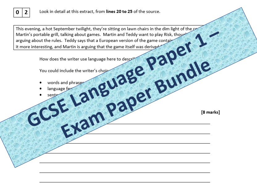 AQA GCSE English Language Paper 1 - Exam Paper Bundle
