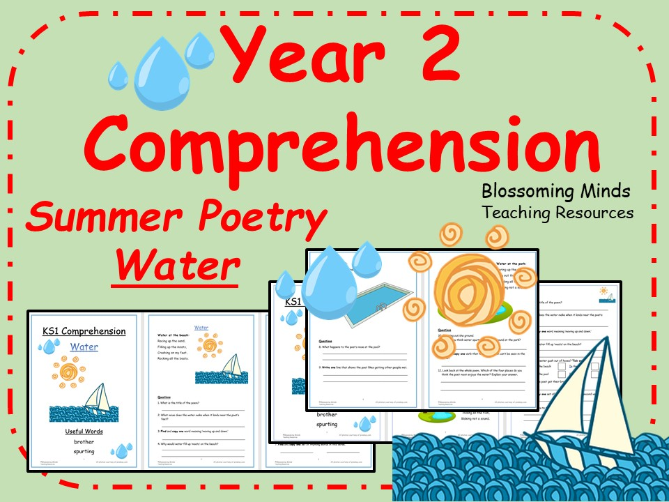 Summer Poetry Comprehension - Year 2 - Water Theme