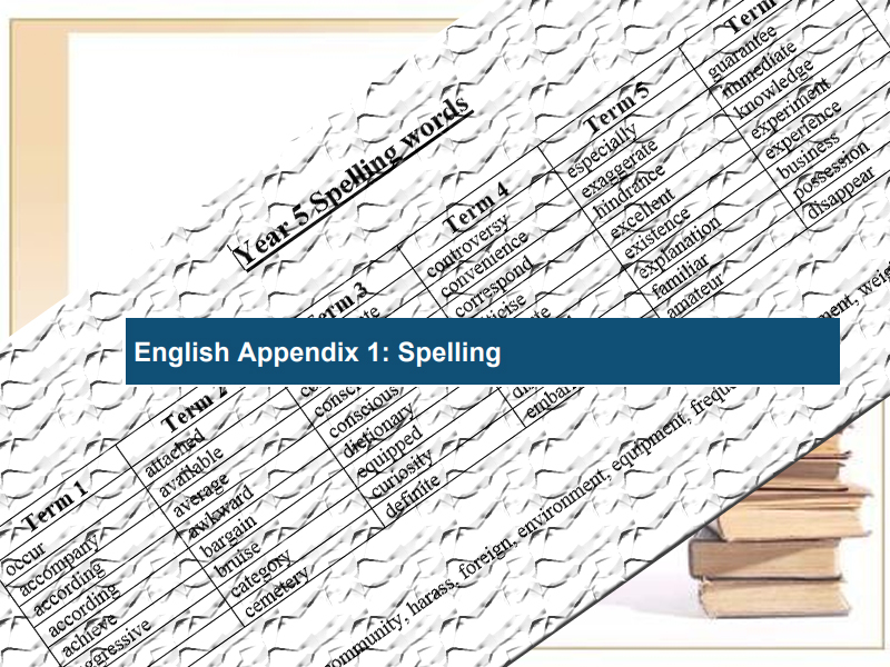 National Curriculum Spelling Words Year 5