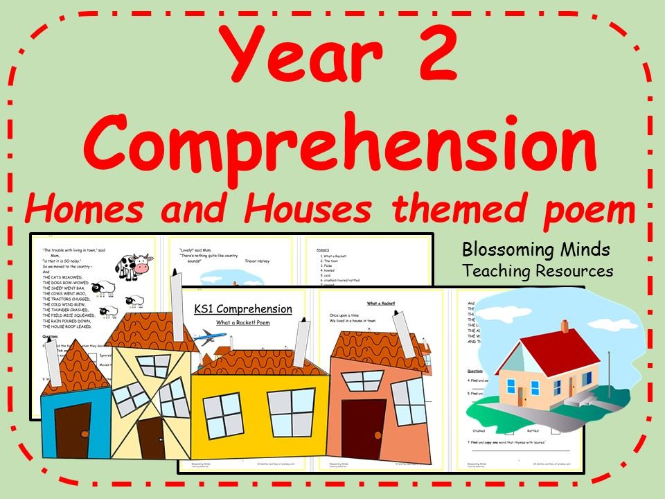 Year 2 poetry comprehension - Homes/houses theme