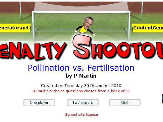Fun Starter or Plenary Game involving Pollination vs. Fertilisation.