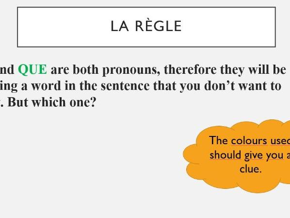 "RELATIVE PRONOUNS ""QUI"" AND ""QUE"" - FOOD AND LEISURE"