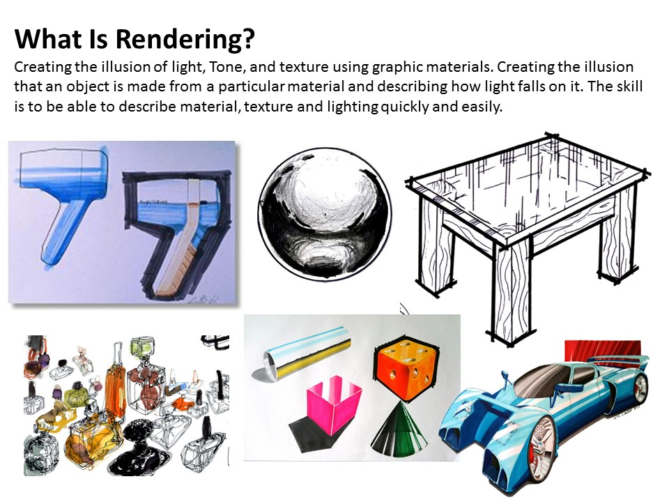 Rendering exercises to help develop graphic and presentation skills.