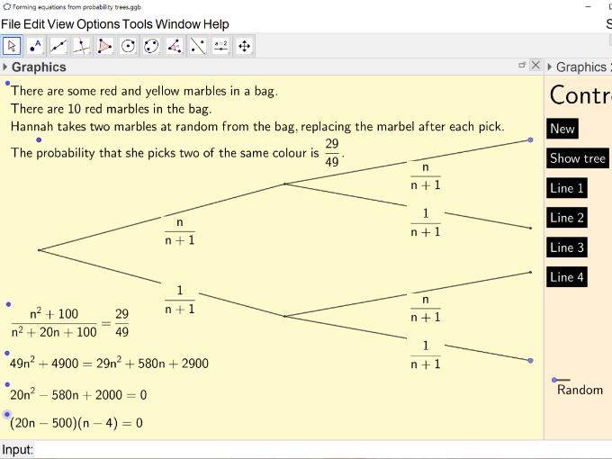 Forming quadratic equations from probability trees (as seen in Edexcel GCSE 1MA1)