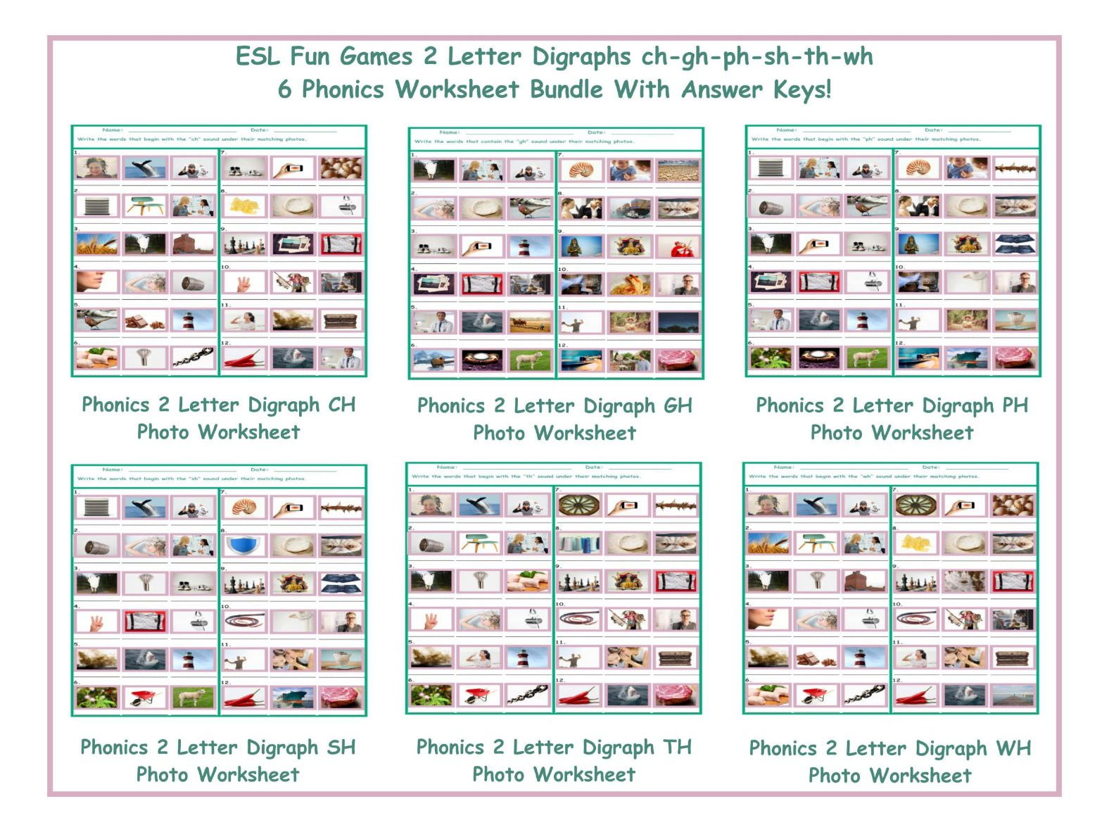 worksheet Th Digraph Worksheets phonics 2 letter digraphs ch gh ph sh th wh worksheet bundle by eslfungames teaching resources tes