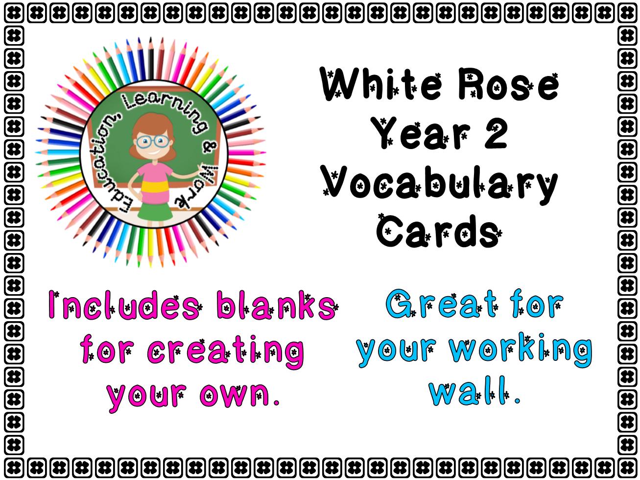 ***BUNDLE*** Maths Vocabulary Cards - Year 2 White Rose - Full Year