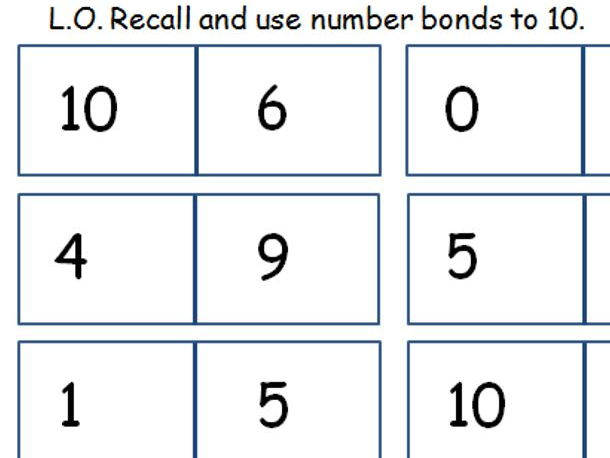 Number Bonds Dominoes - 10 and 20