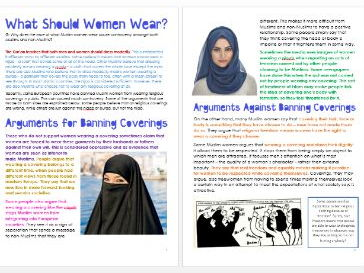 Islam: Women and Religious Clothing: Differentiated Information and Activity Sheets