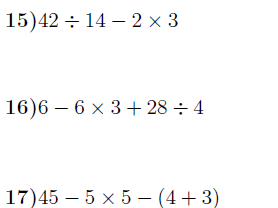 Order of operations worksheet no 3 (with solutions)