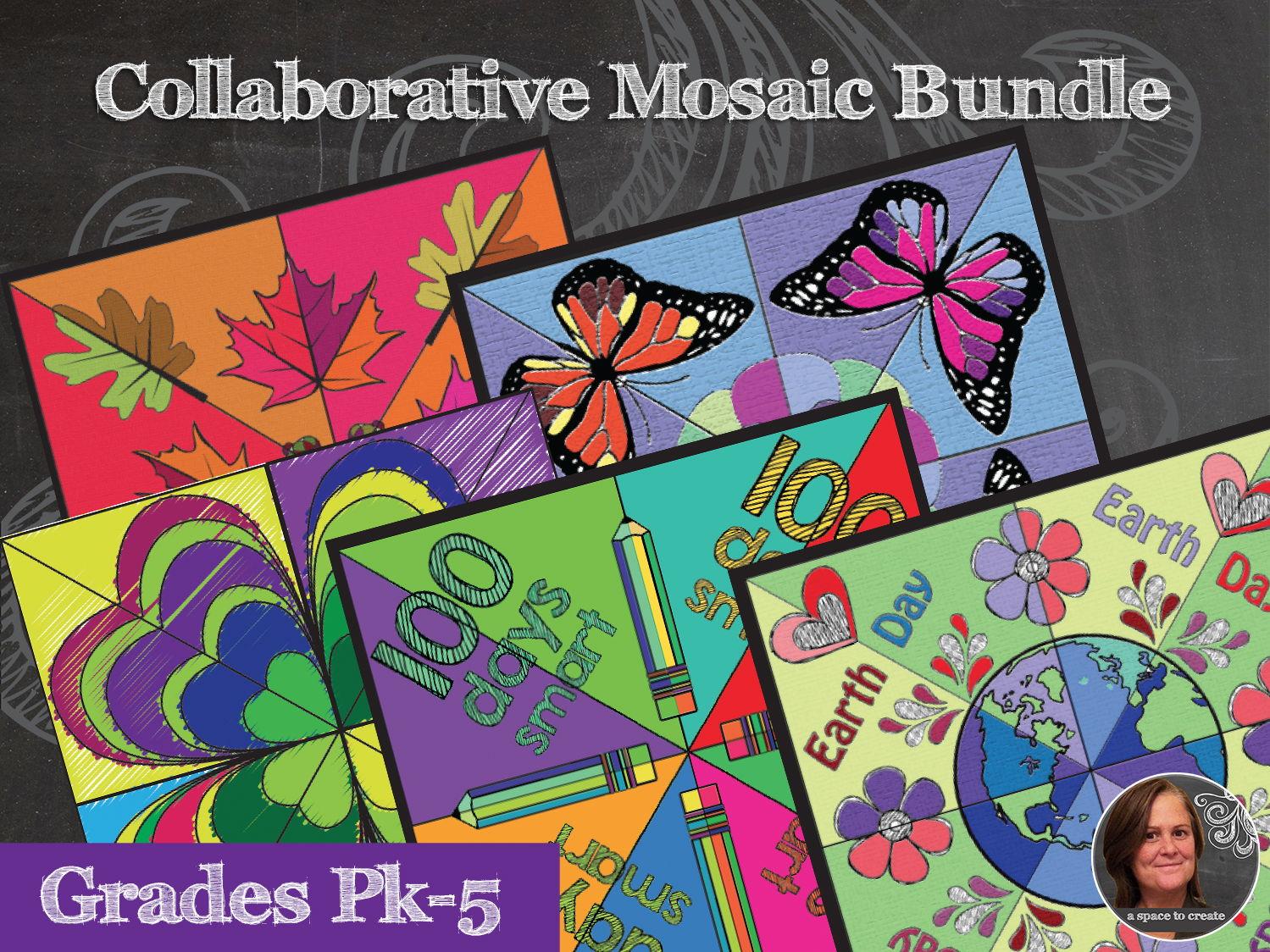 Mosaic Holiday Bundle - Interactive Coloring Sheets - Collaborative Mosaics